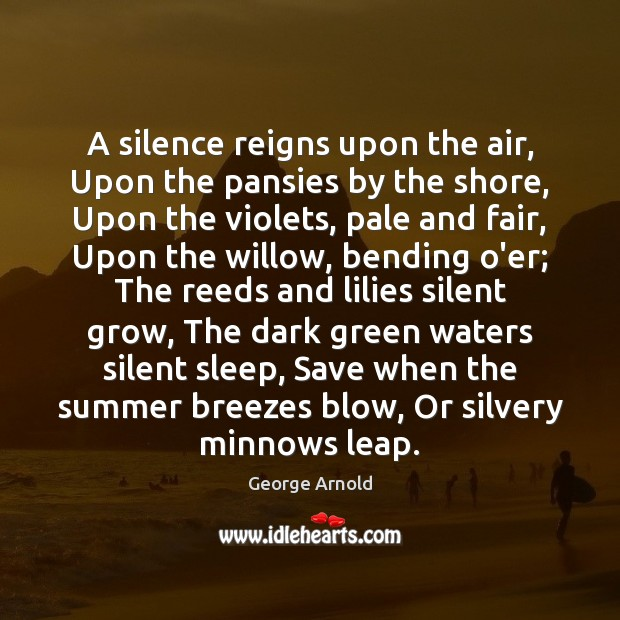 A silence reigns upon the air, Upon the pansies by the shore, Image
