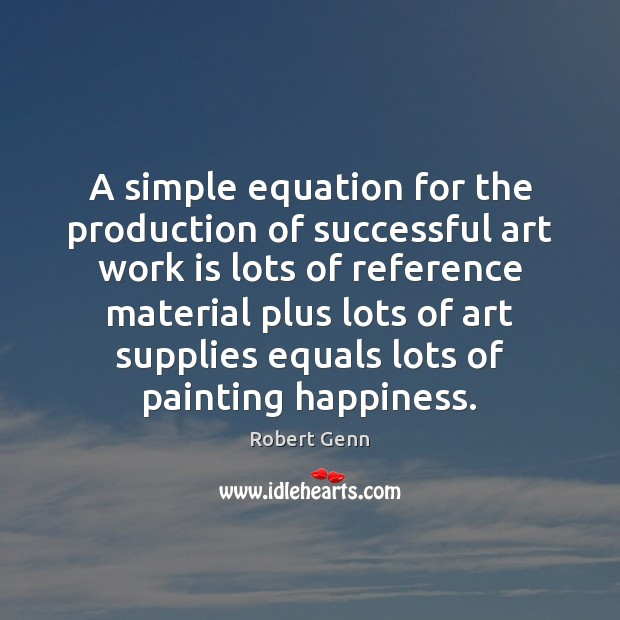 Image, A simple equation for the production of successful art work is lots