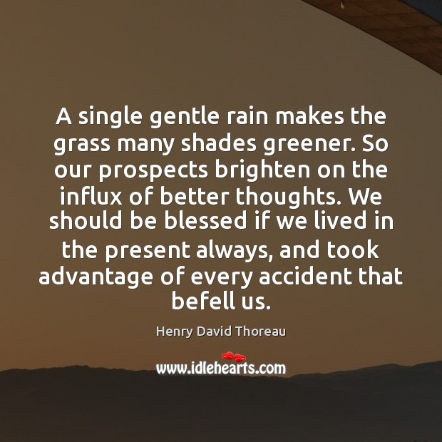 A single gentle rain makes the grass many shades greener. So our Image