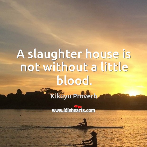 A slaughter house is not without a little blood. Kikuyu Proverbs Image