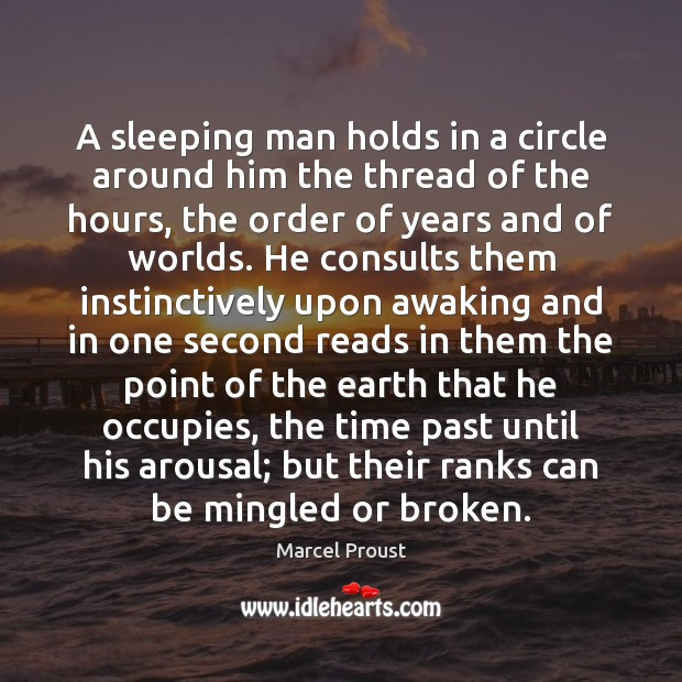 Image, A sleeping man holds in a circle around him the thread of