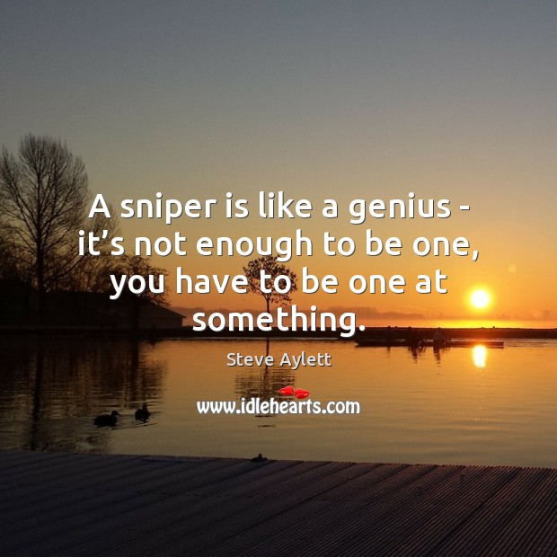 A sniper is like a genius – it's not enough to be one, you have to be one at something. Image