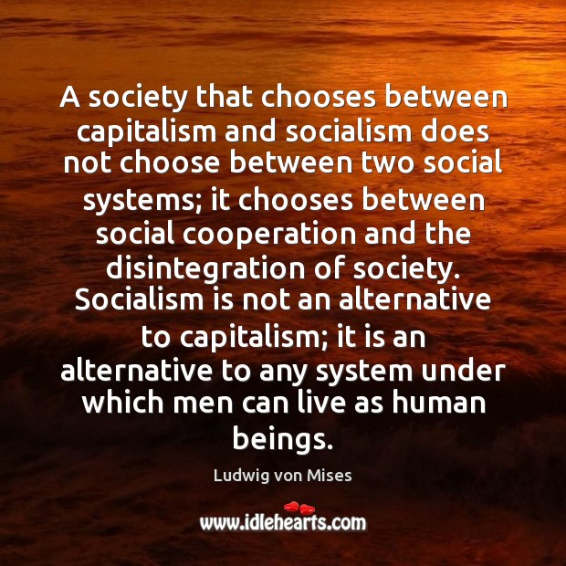 A society that chooses between capitalism and socialism does not choose between Image