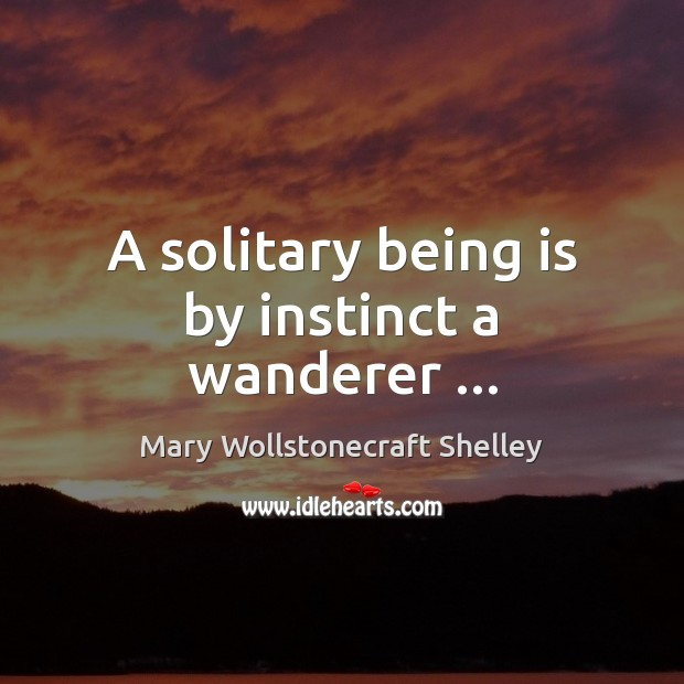 A solitary being is by instinct a wanderer … Mary Wollstonecraft Shelley Picture Quote