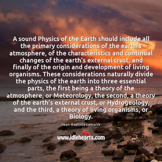 Image, A sound Physics of the Earth should include all the primary considerations