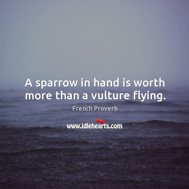A sparrow in hand is worth more than a vulture flying. Image