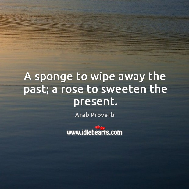 A sponge to wipe away the past; a rose to sweeten the present. Arab Proverbs Image
