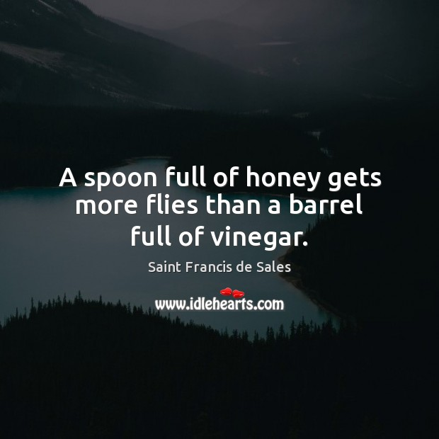 A spoon full of honey gets more flies than a barrel full of vinegar. Saint Francis de Sales Picture Quote