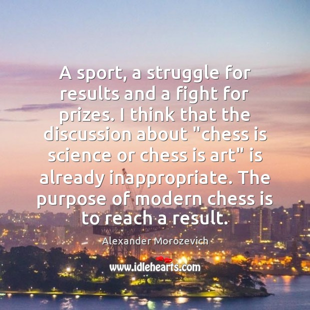 A sport, a struggle for results and a fight for prizes. I Image