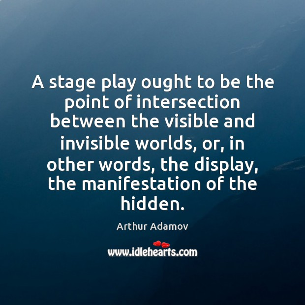 Image, A stage play ought to be the point of intersection between the