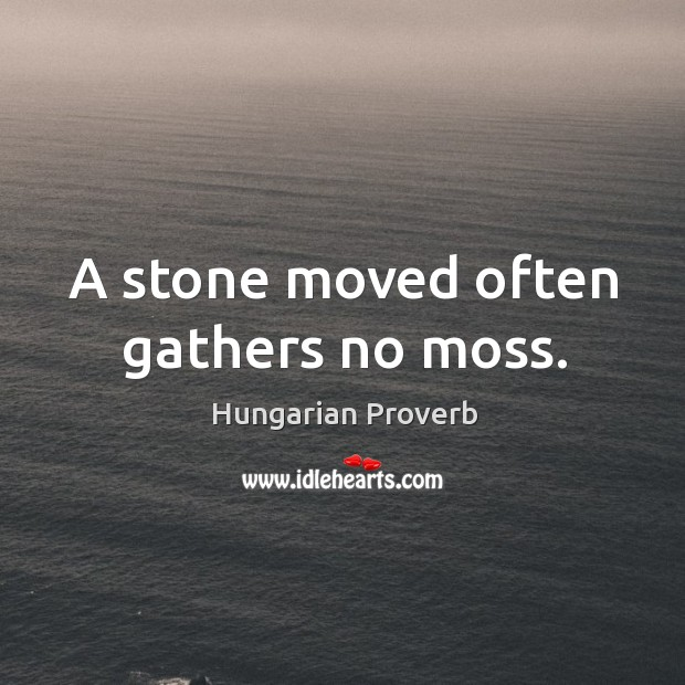 A stone moved often gathers no moss. Image