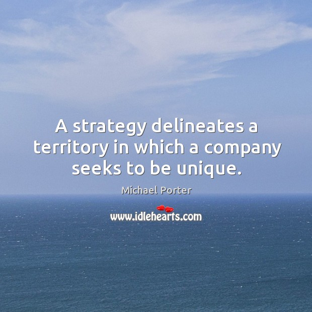 Image, A strategy delineates a territory in which a company seeks to be unique.