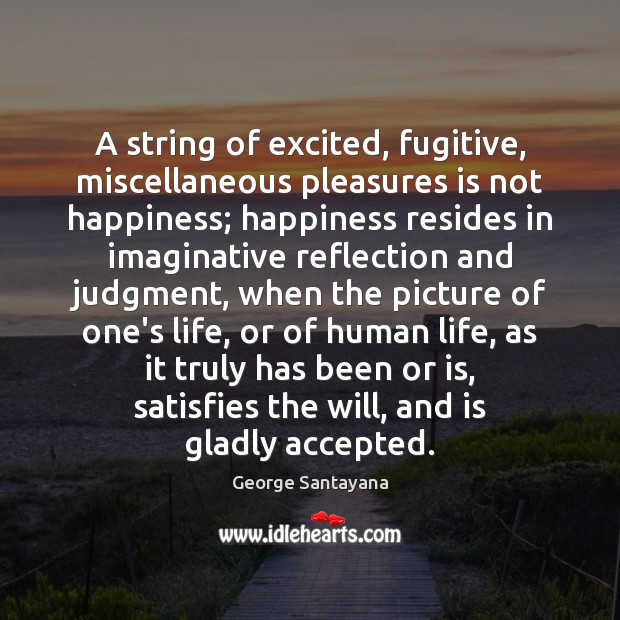 A string of excited, fugitive, miscellaneous pleasures is not happiness; happiness resides Image