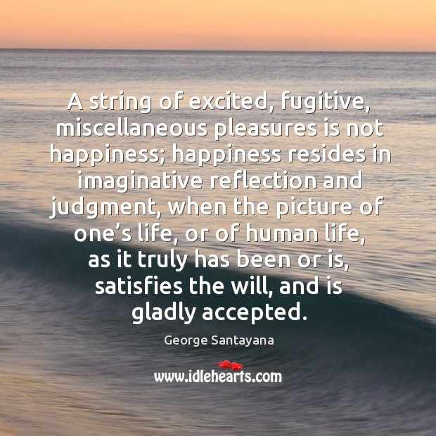 A string of excited, fugitive, miscellaneous pleasures is not happiness; Image