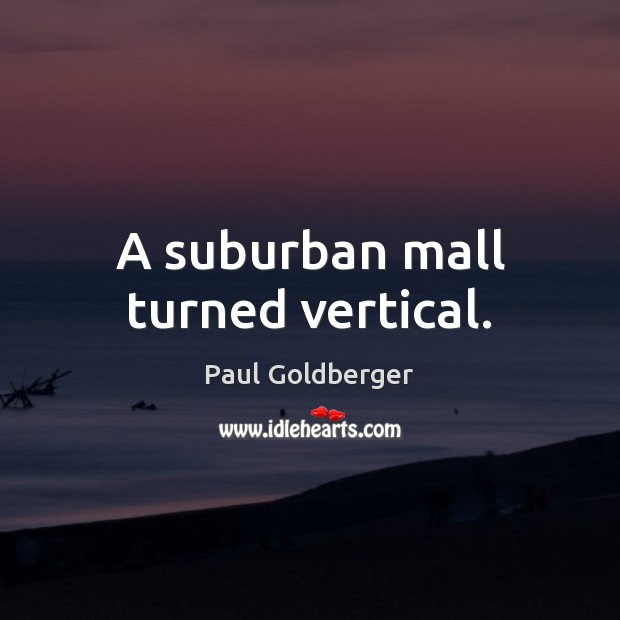 A suburban mall turned vertical. Image
