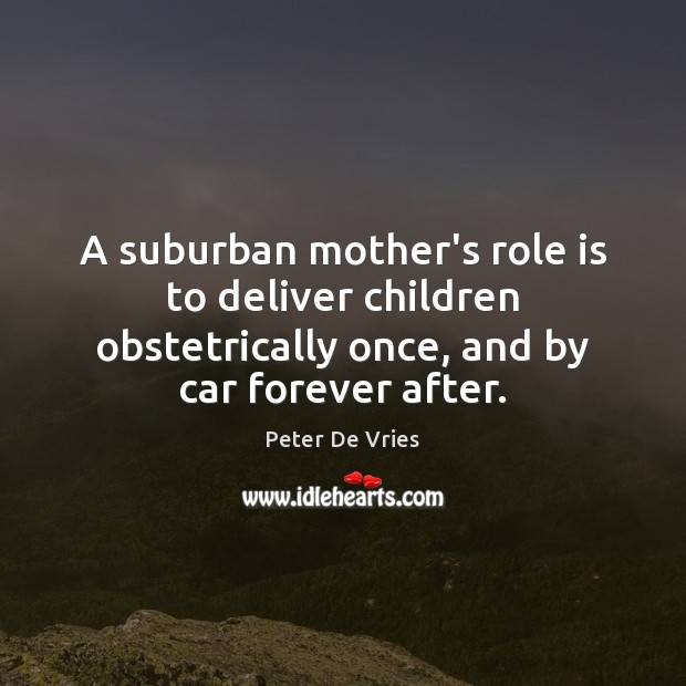 Image, A suburban mother's role is to deliver children obstetrically once, and by