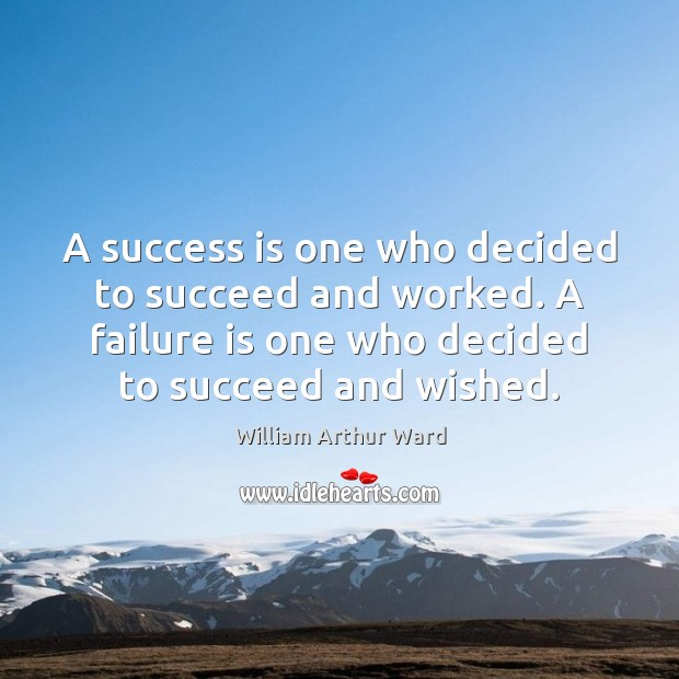 A success is one who decided to succeed and worked. A failure Image