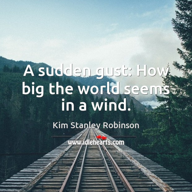 A sudden gust: How big the world seems in a wind. Kim Stanley Robinson Picture Quote