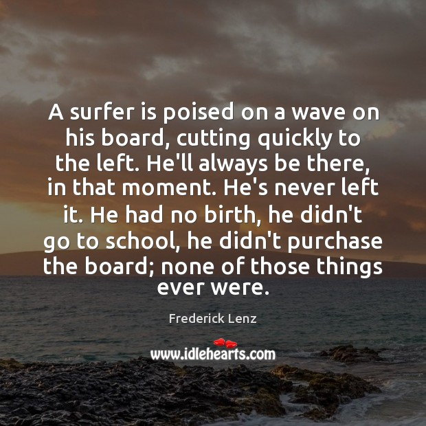 Image, A surfer is poised on a wave on his board, cutting quickly