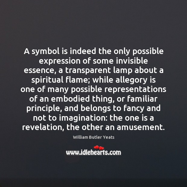 Image, A symbol is indeed the only possible expression of some invisible essence,