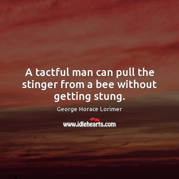 Image, A tactful man can pull the stinger from a bee without getting stung.