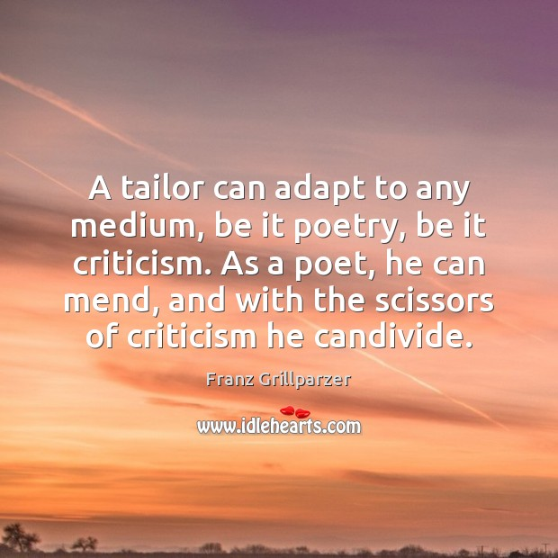 A tailor can adapt to any medium, be it poetry, be it Franz Grillparzer Picture Quote