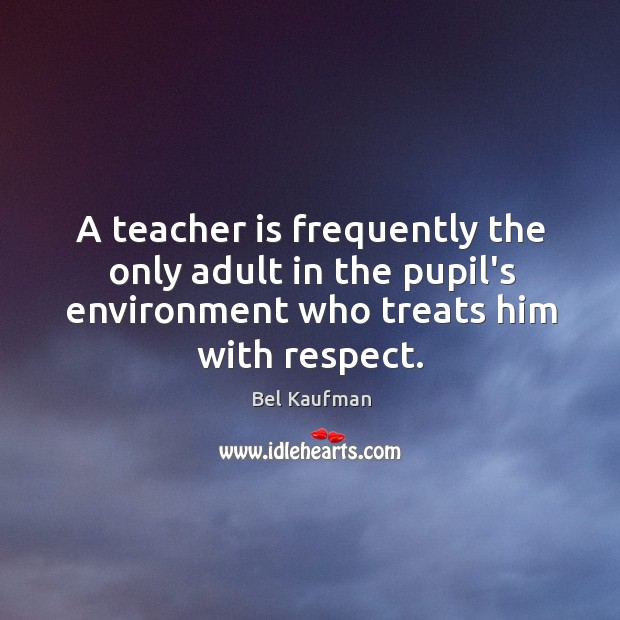 Image, A teacher is frequently the only adult in the pupil's environment who