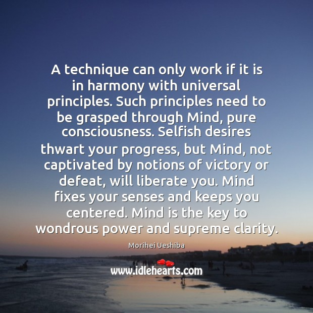 A technique can only work if it is in harmony with universal Morihei Ueshiba Picture Quote