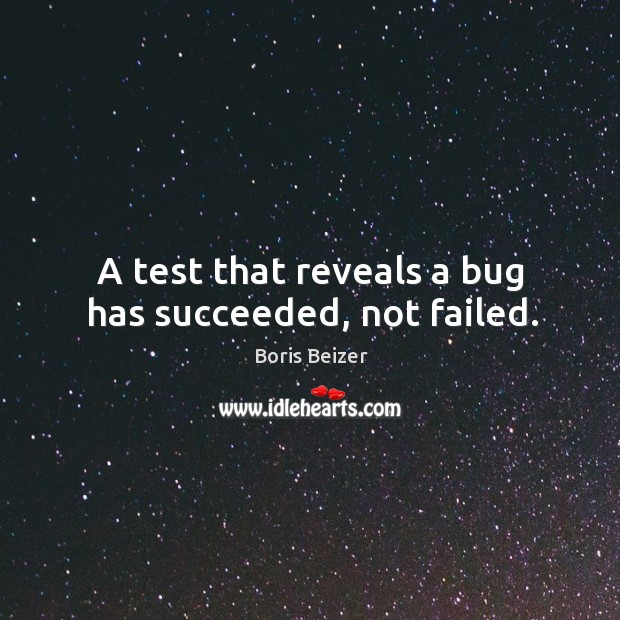 Image, A test that reveals a bug has succeeded, not failed.