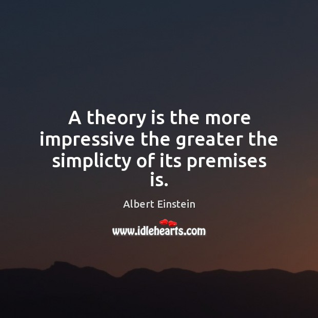 Image, A theory is the more impressive the greater the simplicty of its premises is.