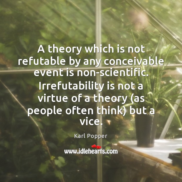 A theory which is not refutable by any conceivable event is non-scientific. Image