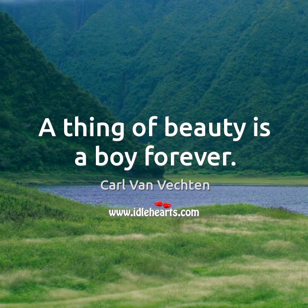 Carl Van Vechten Picture Quote image saying: A thing of beauty is a boy forever.