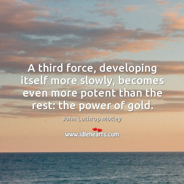 A third force, developing itself more slowly, becomes even more potent than the rest: the power of gold. John Lothrop Motley Picture Quote