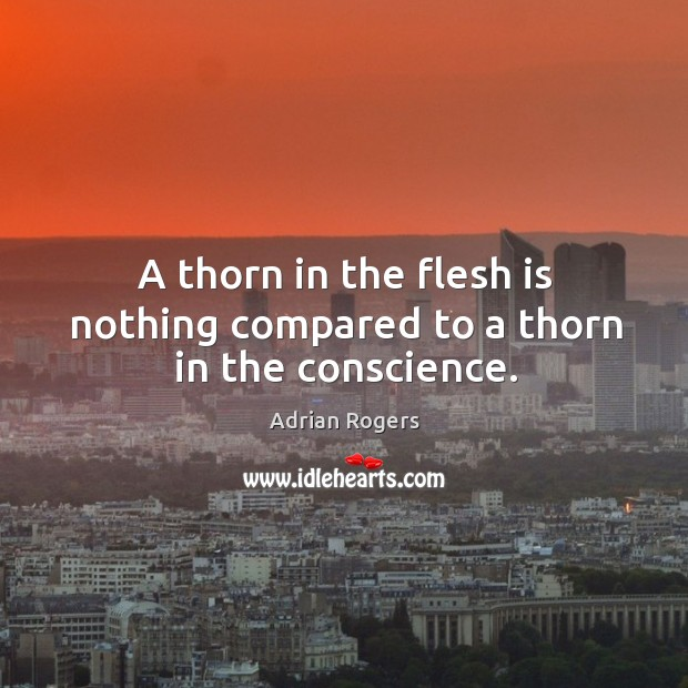 A thorn in the flesh is nothing compared to a thorn in the conscience. Image