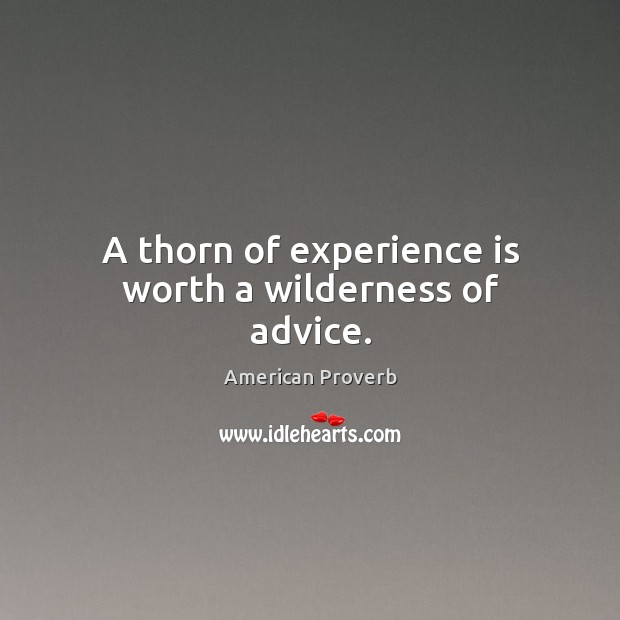 Image, A thorn of experience is worth a wilderness of advice.