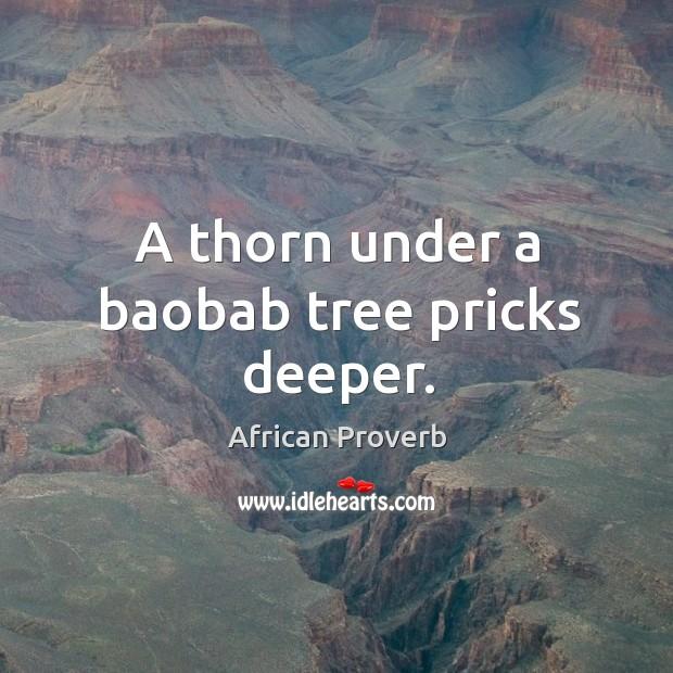 Image, A thorn under a baobab tree pricks deeper.