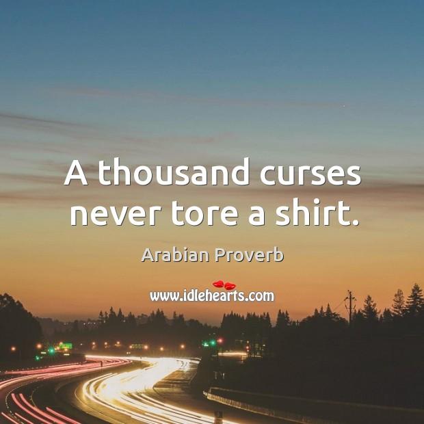 A thousand curses never tore a shirt. Arabian Proverbs Image