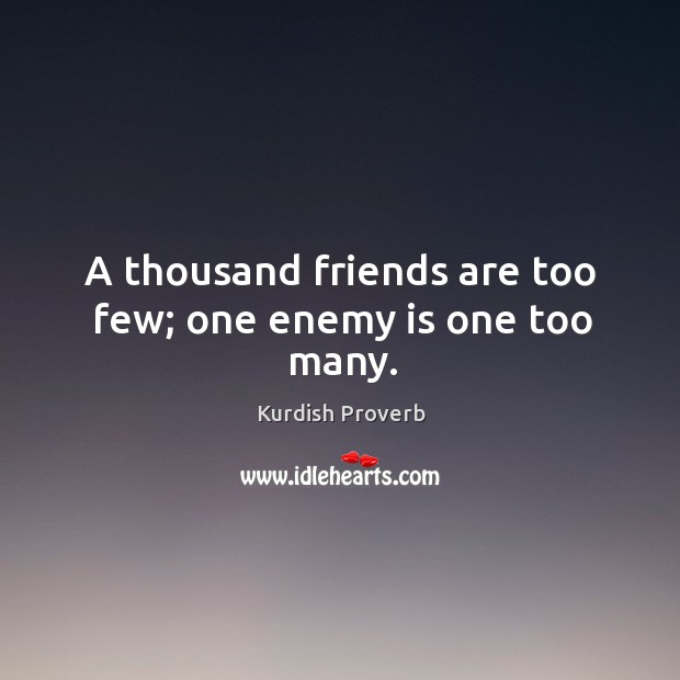 A thousand friends are too few; one enemy is one too many. Image