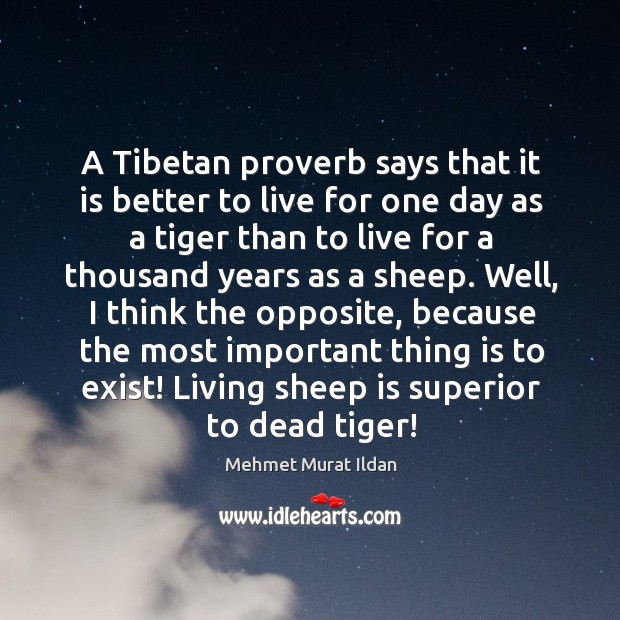 Image, A Tibetan proverb says that it is better to live for one