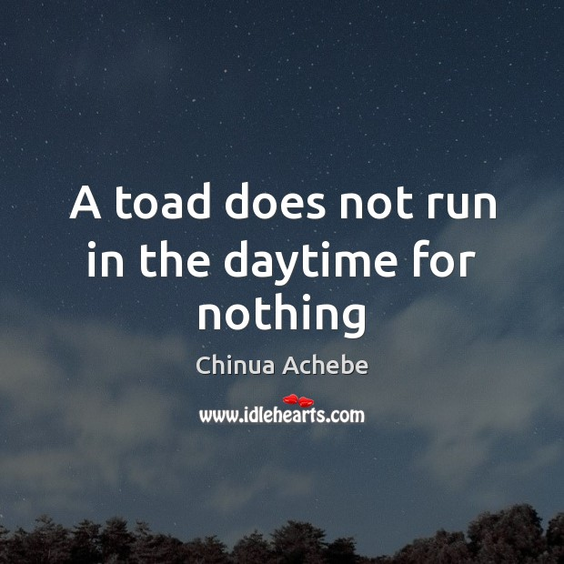 A toad does not run in the daytime for nothing Chinua Achebe Picture Quote