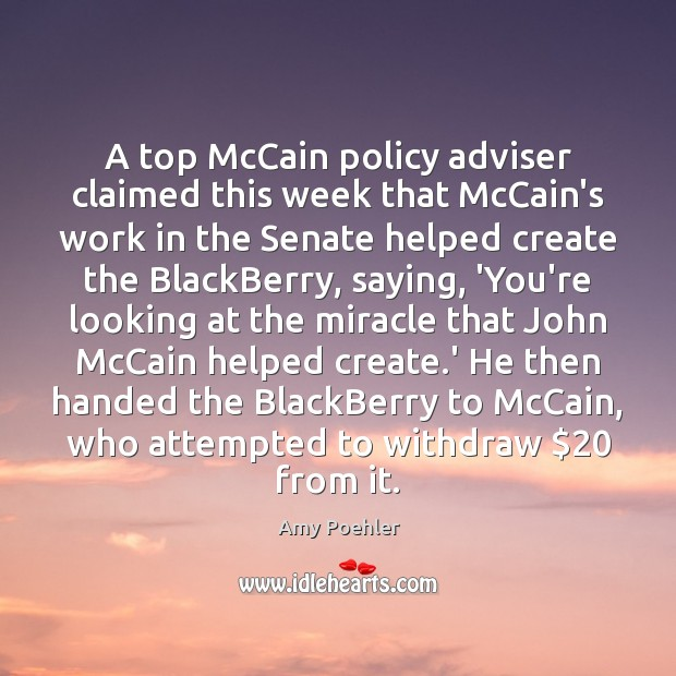 Image, A top McCain policy adviser claimed this week that McCain's work in
