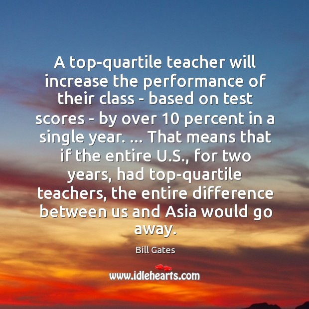A top-quartile teacher will increase the performance of their class – based Image