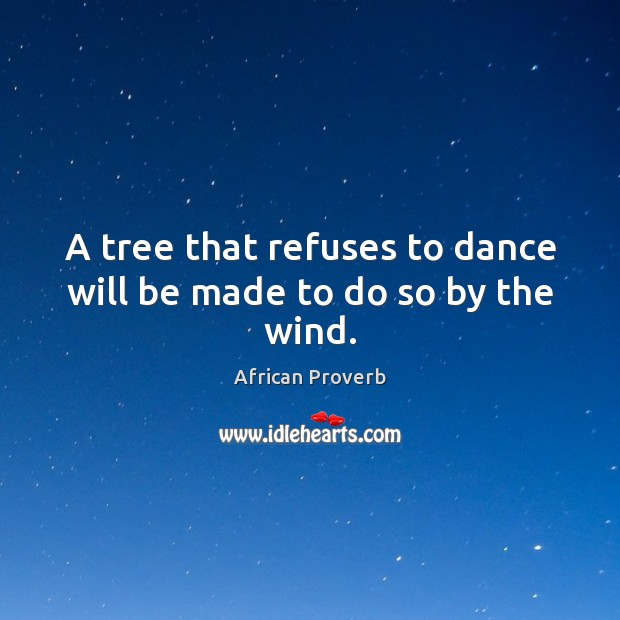 Image, A tree that refuses to dance will be made to do so by the wind.