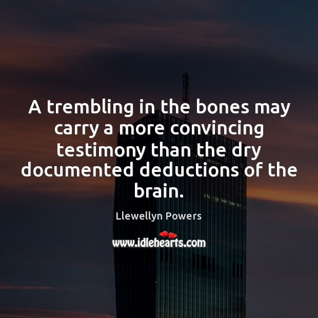 A trembling in the bones may carry a more convincing testimony than Image