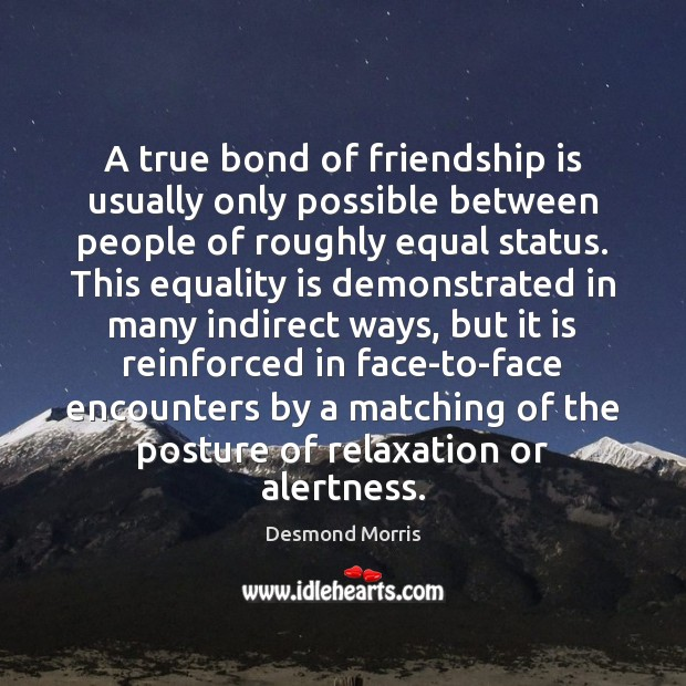 A true bond of friendship is usually only possible between people of Equality Quotes Image
