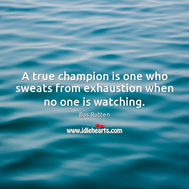 A true champion is one who sweats from exhaustion when no one is watching. Bas Rutten Picture Quote