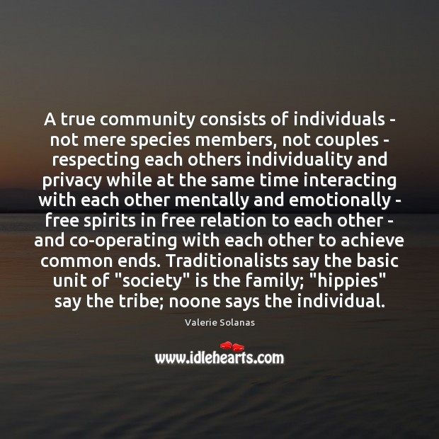 Image, A true community consists of individuals – not mere species members, not