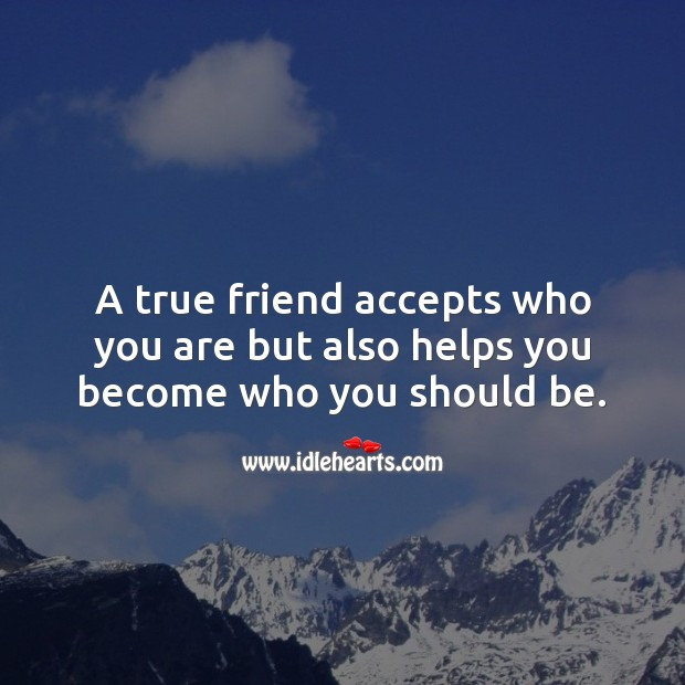 Image, A true friend accepts who you are but also helps you become who you should be.