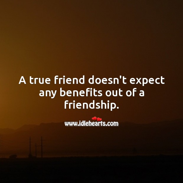 A true friend doesn't expect any benefits out of a friendship. True Friends Quotes Image
