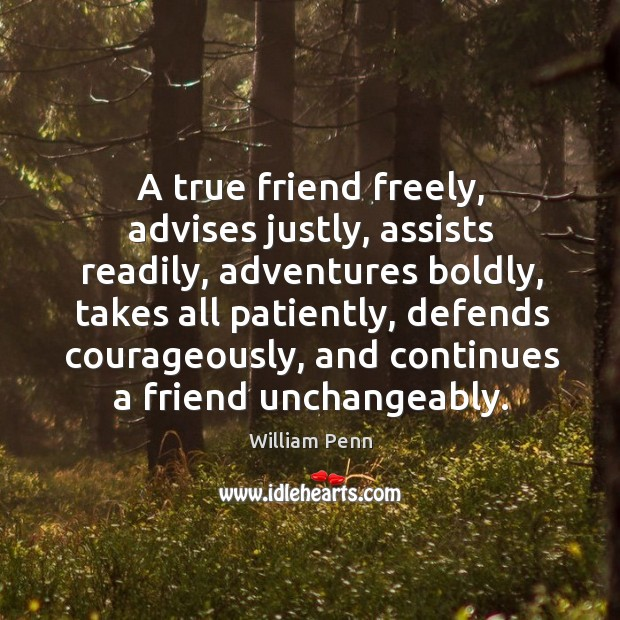 A true friend freely, advises justly, assists readily, adventures boldly Image